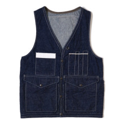 HC-229 1940's Bag-pocket Hunting Vest Indigo Denim OR
