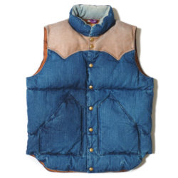 ROCKY MOUNTAIN×WAREHOUSE DENIM DOWN VEST USED WASH