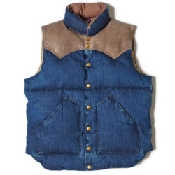ROCKY MOUNTAIN×WAREHOUSE INDIGO HBT DOWN VEST USED WASH