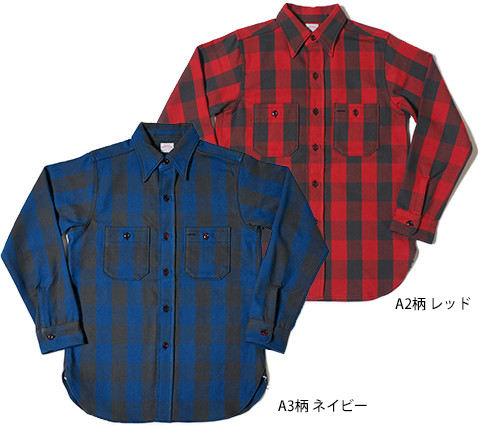 Lot.3104 FLANNEL SHIRTS type-A A3柄 ネイビー A2柄 レッド