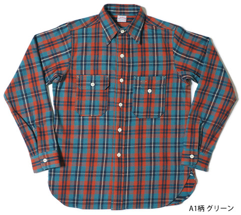 Lot.3105 FLANNEL SHIRTS(UNCLE SUM MODEL) A1柄 グリーン