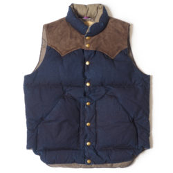 ROCKY MOUNTAIN × WAREHOUSE INDIGO DUCK DOWN VEST LONG WASH